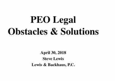 Steve Lewis | PEO Legal Obstacles…and Opportunities